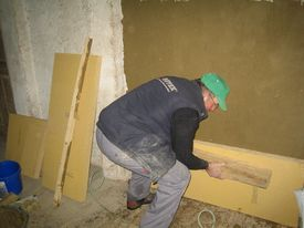 Montage der Holzfaserplatten